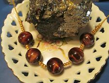 Stunning Eye Catching 15-16 mm Luxury Gem Copper Tiger Rutile Quartz Beads Q 5