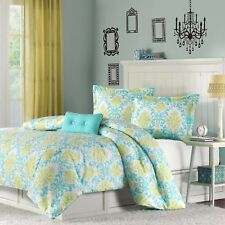 NEW Twin Full Queen Bed 4 pc Teal Green White Damask Elegant Comforter Set NWT