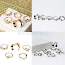 Set of 5 Fashion Bow Flower Eyes Knuckle Finger Band Ring Set Anniversary