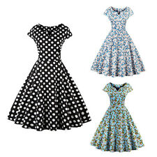 50s Retro Vintage Floral Polka Dot Swing Dress Housewife Dance Party Long Skirt