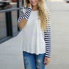 Patchwork Long Sleeve Elbow Patch T-Shirt Casual Tops Striped Tee for Women