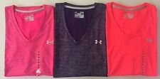Women's Under Armour Heat Gear Semi-Fitted Polyester V-Neck Shirts UPF 30+