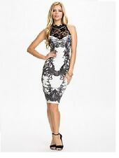 Sexy Womens White Black Lace Halter Chic Knee Length Dress Party Cocktail 8-14