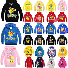 Kids Pikachu Sweater Hooded Hoodies Sweatshirt Pullover Boys Girls Cartoon Coat