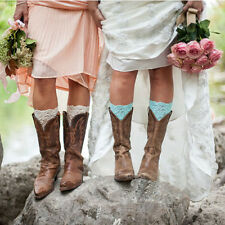 Women Stretch Lace Boot Cuffs Leg Warmers Lace Trim Toppers Sock Leggings Flower