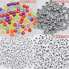 100PCS DIY Random Alphabet Beads Making Loose Letter Jewelry Acrylic Cube Spacer