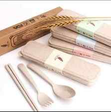 3pcs New Portable Spoon Fork Chopsticks Tableware Set for Travel Cutlery Camping