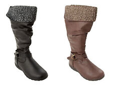 WOMENS CUFF FUR LINED FLAT SLOUCH KNEE LENGTH ZIP WINTER BOOTS LADIES SIZE 3-8