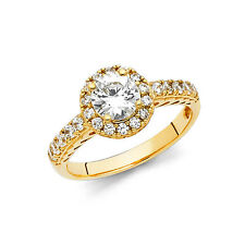 Solid 14k Yellow Gold 1.5ct. Diamond Cirque Halo Round Engagement Ring