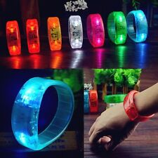 Sound Voice Activated Sound Controlled LED Light Wristband Bracelet Bangle Party