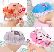 Cute Shower Cap Environmental Waterproof Cartoon Hat  Elastic Band Lace Bath Cap