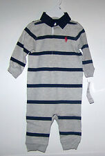 NWTS RALPH LAUREN GREY STRIPE RUGBY COVERALL 6, 9 MONTHS, DRESSY SPRING NEW