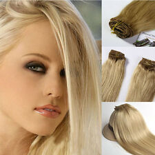 "18""  70G 100G Remy Hair Extensions 100% Real Human Hair Clip In Hair Blonde"