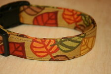 Autumn Leaves on tan Adjustable Dog Collars & Martingales & Leashes