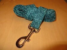 Teal Swirls Adjustable Dog Collars & Martingales & Leashes & Cat Collars