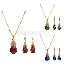 Bridal Gold Plated Crystal Gemstone Pendant Necklace Hook Earrings Jewelry Set