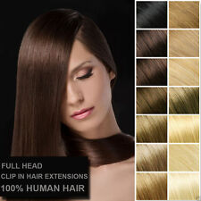 Full Head 10pcs Extra Thick Virgin Remy Clip In Real Human Hair Extension16~26''