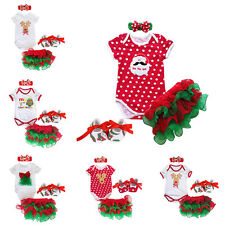 4PCS Baby Girls 1st Christmas Romper Headband Tutu Ruffle Skirt Outfit Clothes