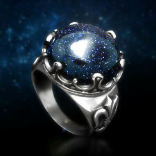 Fine Mens Womens Star Blue Sand Stone 316L Stainless Steel Ring Sz 8-11