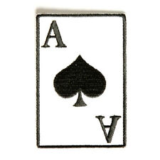 Embroidered Ace Of Spades Playing Card Iron on Sew on Biker Patch Badge
