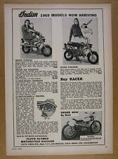 1969 Indian Papoose & Ponybike mini-bikes Boy Racer motorcycle vintage print Ad