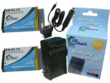 2x Battery +Charger +Car Plug +EU Adapter for Nikon Coolpix s8100, Coolpix s9100
