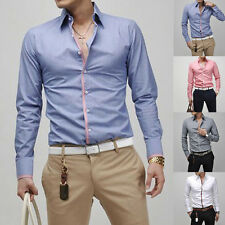 Stylish Mens Slim Fit Long Sleeve Dress Business Casual Shirts Solid Button Tops