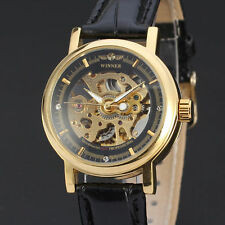 Black Gold Mens Automatic Mechanical Skeleton Stainless Leather Dial Wrist Watch