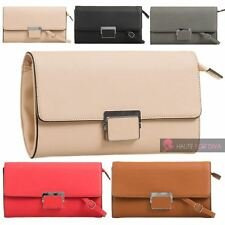 NEW FAUX LEATHER SILVER FRONT DETAIL CROSS-BODY STRAP LADIES SHOULDER CLUTCH BAG