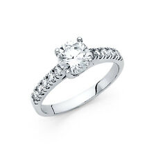 14k Solid White Gold 1.75 Ct Diamond Engagement Ring Round Cut Solitaire