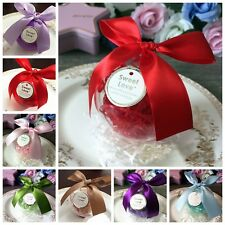 1x Plastic Candy Boxes Ball Shaped Ribbon Bow Chocolate Box Party Wedding Favor