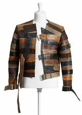 MAISON MARTIN MARGIELA For H&M RARE Brown Leather Belt Biker Jacket MEDIUM