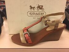 Coach Womens Porscha Caw Cashmere Leather Wedge Sandal