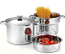 Cook N Home 02401 Stainless Steel 4-Piece Pasta Cooker Steamer Multipots with En