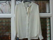 BNWT Whistles Florance Bow Detail Silk Blouse Shirt Ivory UK10 12 rrp£130