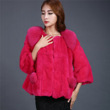 100% Real Rex Rabbit+Fox Fur Coat Jacket Warm Waistcoat Jacket Outwear Garment