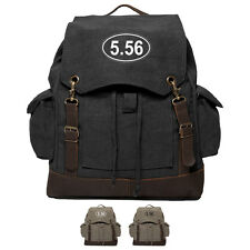 Military 5.56 Assault Rifle AR15 Ammo Canvas Rucksack Backpack w/ Leather Straps