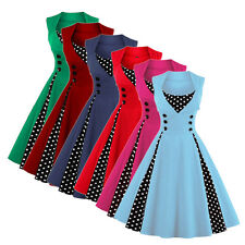 Women's Vintage Style 50s Retro Polka Dot Pinup Rockabilly Party Swing Dress New