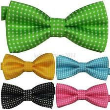 Children Kids Solid Colour Bowtie Toddler Boys Girls Pre Tied Bow Tie Necktie