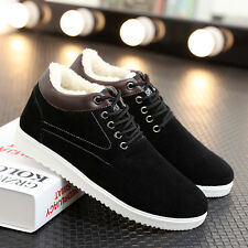Men's Winter Casual Snow Boots Suede Sneakers Thicken Cotton Warm Flat Shoes US