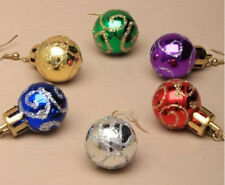 LADIES GIRLS XMAS/CHRISTMAS GLITTER SWIRL BAUBLE DROP DANGLE HOOK EARRINGS