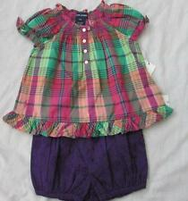 RALPH LAUREN baby girls purple eyelet shorts plaid peasant top outfit set NEW