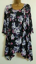 NEW Size 16-20 Purple Navy White Hanky Hem Floral Print Tunic Top