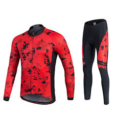 Reflective Men's Cycling Kit Long Sleeve Bike Jersey & Padded Tights / Trousers