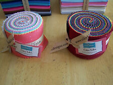 """RILEY BLAKE COTTON SOLIDS JELLY ROLL 2.5"""" ROLIE POLIE PRE CUT FABRIC QUILT STRIP"""