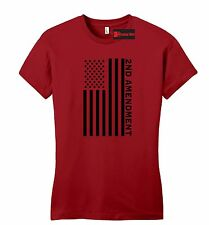 Second 2nd Amendment American Flag Juniors T Shirt Patriotic Gun Fitted Tee