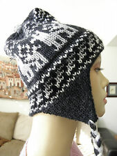From Peru Earflap Hat Thick Snowboard Chullo with Alpaca Design  #100964