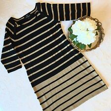 Lennie for Nina Leonard Black Brown Striped Dress Gold Zippers Size Large L