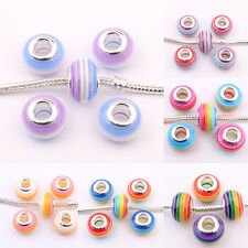 5/20 Lots Stripe Oblate Acrylic Beauty Spacer Bead Murano Lampwork Jewelry Gift