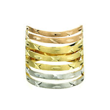 Women 14K Tri Color Gold 20mm Dia Cut Ring Right Hand Band / Gift Box